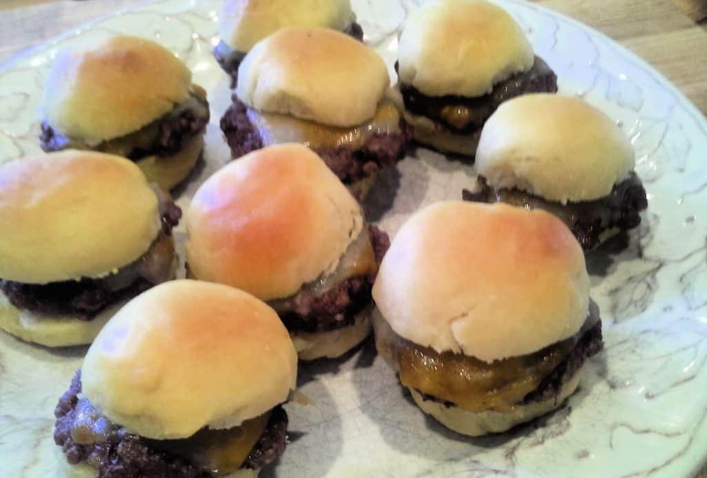 burger sliders on plate, 100 simple dinners